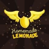 Дизайн печати ярлыка логотипа домодельного лимонада схематический с лимоном летания с крылами в иллюстрации воздуха вектор иллюстрация вектора