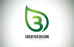 Дизайн письма логотипа лист b с зеленым планом лист Стоковые Изображения