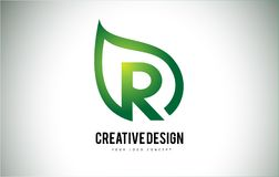 Дизайн письма логотипа лист r с зеленым планом лист Стоковая Фотография