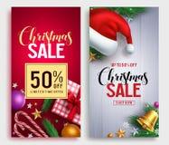 Дизайн плаката вектора продажи рождества установил с текстом продажи выдвиженческим бесплатная иллюстрация