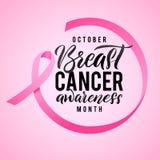 Дизайн плаката каллиграфии осведомленности рака молочной железы Лента вокруг писем Лента пинка хода вектора Октябрь Карцинома Стоковое фото RF