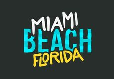 Дизайн плаката литерности лета Miami Beach Флориды типографский Стоковое фото RF