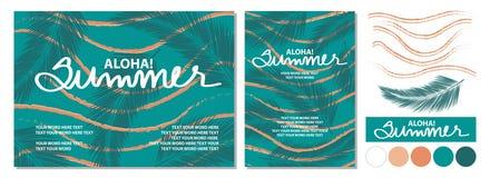 Дизайн плаката на лето с каллиграфией и космос для острословия текста Стоковое фото RF