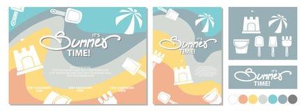 Дизайн плаката на лето с каллиграфией и космос для текста и Стоковое Фото
