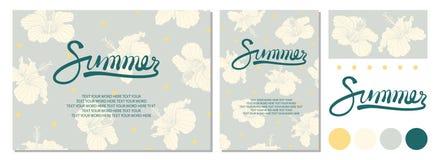 Дизайн плаката на лето с каллиграфией, точками и гибискусом дальше Стоковые Изображения