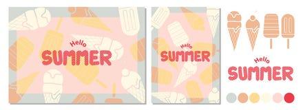 Дизайн плаката на лето с космосом для текста и мороженого на ба Стоковое Изображение