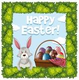Дизайн плаката пасхи с кроликом и яичками в корзине Стоковое фото RF