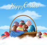 Дизайн плаката пасхи с много яичек в корзине Стоковые Изображения