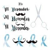 Дизайн плаката события осведомленности рака Movember Стоковое Изображение