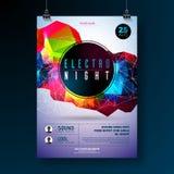 Дизайн плаката танцев ночи с абстрактными современными геометрическими формами на сияющей предпосылке Electro клуб диско стиля Стоковое Фото
