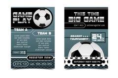 Дизайн плаката футбола Концепция рогульки шарика футбола Конструируйте для продвижения спорта продажи билета бара спорта турнир Стоковые Изображения RF