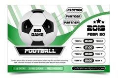 Дизайн плаката футбола Концепция рогульки шарика футбола Конструируйте для продвижения спорта продажи билета бара спорта турнир Стоковые Фото