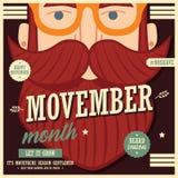 Дизайн плаката Movember, осведомленность рака предстательной железы, человек битника с бородой и усик иллюстрация штока