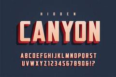 Дизайн плакатного шрифта 3d вектора ультрамодный, алфавит, пальмира, письмо бесплатная иллюстрация