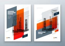 Дизайн плана шаблона брошюры Годовой отчет корпоративного бизнеса, каталог, кассета, брошюра, модель-макет рогульки творческо иллюстрация вектора