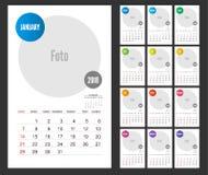 Дизайн плановика 2018 календарей на белой предпосылке Комплект 12 Mont Стоковое Изображение RF