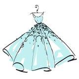 Дизайн платья свадьбы, черно-белый, голубой Стоковые Фотографии RF
