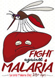 Дизайн повышая бой против малярии при печень зараженная москитом, иллюстрацией вектора Стоковое Фото