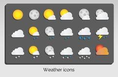 Дизайн погоды установленный значками плоский Стоковое Изображение