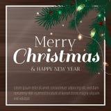 Дизайн поздравительной открытки Нового Года с стилизованной рождественской елкой и гирляндой также вектор иллюстрации притяжки co бесплатная иллюстрация