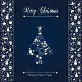 Дизайн поздравительной открытки праздника рождества в роскошном стиле - собрании иллюстрация вектора