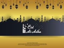 Дизайн поздравительной открытки Adha Mubarak al Eid исламский с мечетью купола и элемент фонарика смертной казни через повешение  бесплатная иллюстрация