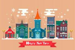 Дизайн поздравительных открыток для рождества торжества benches покрытая городом зима валов снежка ландшафта урбанская Улица Snow Стоковые Фото