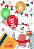 Дизайн поздравительой открытки ко дню рождения с днем рождений для одного годовалого младенца иллюстрация вектора