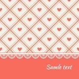 Дизайн поздравительной открытки с сердцами и rhombs Стоковые Изображения RF