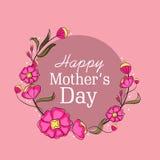 Дизайн поздравительной открытки для счастливого торжества Дня матери Стоковое Изображение