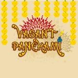 Дизайн поздравительной открытки для счастливого Vasant Panchami Стоковое Изображение