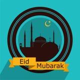 Дизайн поздравительной открытки Eid Mubarak плоский Стоковые Изображения
