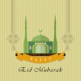Дизайн поздравительной открытки Eid Mubarak плоский Стоковое фото RF