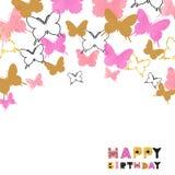 Дизайн поздравительой открытки ко дню рождения с днем рождений с пинком акварели и блестящими золотыми бабочками иллюстрация штока