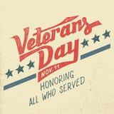 Дизайн праздника дня ветеранов типографский Стоковое Изображение RF