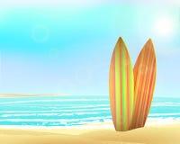 Дизайн праздников вектора винтажный - surfboards на a Стоковая Фотография RF