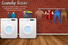 Дизайн прачечной с стиральными машинами и засыханием одевает на предпосылке кирпичной стены Стоковое Изображение