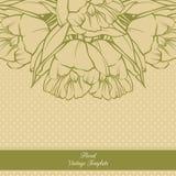 Дизайн предпосылки винтажной орнаментальной рамки флористический Знамя приглашения карточки шаблона с цветками весны Цветки тюльп Стоковая Фотография