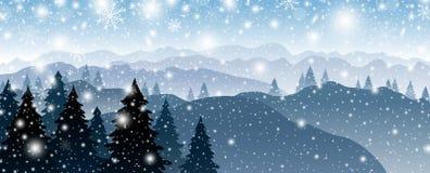 Дизайн предпосылки рождества сосны и горы со снегом падая в зиму иллюстрация вектора