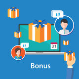 Дизайн предложения продвижения вознаграждений работникам вознаграждением бонуса плоский Стоковое Фото