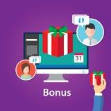 Дизайн предложения продвижения вознаграждений работникам вознаграждением бонуса плоский Стоковые Фото