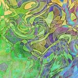 Дизайн предпосылки кривых зеленой голубой абстрактной текстуры случайный Стоковая Фотография