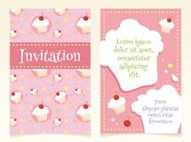 Дизайн приглашения с пирожными Стоковые Фото