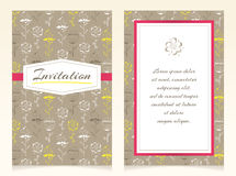 Дизайн приглашения с цветками эскиза Стоковое Изображение