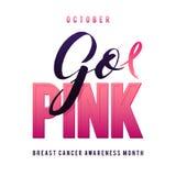 Дизайн плаката каллиграфии осведомленности рака молочной железы вектора Лента хода розовая Стоковые Изображения