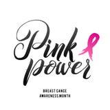 Дизайн плаката каллиграфии осведомленности рака молочной железы вектора Лента хода розовая Стоковое Изображение RF
