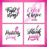 Дизайн плаката каллиграфии осведомленности рака молочной железы вектора Лента хода розовая Стоковые Изображения RF