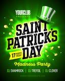 Дизайн плаката партии сумасшествия дня ` s St. Patrick Стоковое Изображение