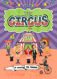 Дизайн плаката цирка вектора - приходящ к городку Стоковая Фотография RF