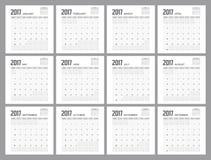 Дизайн плановика 2017 календарей Стоковое Изображение RF